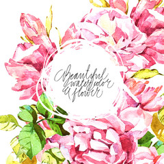 Watercolor abstrackt flower background whith lettering