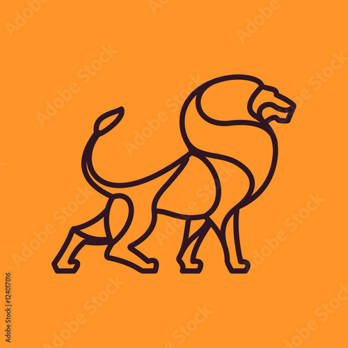 Lion vector line character.
