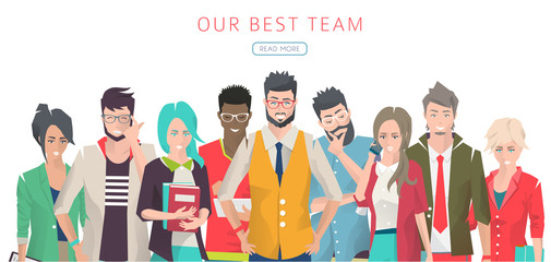 Modern vector illustration / Set of business people with different actions, feelings and emotions / creative men and women /  office team  /  can be used for websites and banners