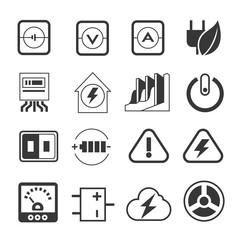 electricity icons, energy icons