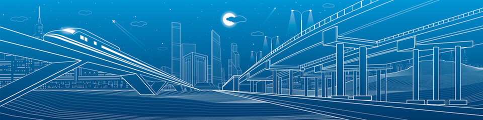 Automotive overpass, infrastructure and transportation illustration, transport flyover, highway, white lines urban scene, train move on the bridge, night city on background, vector design art