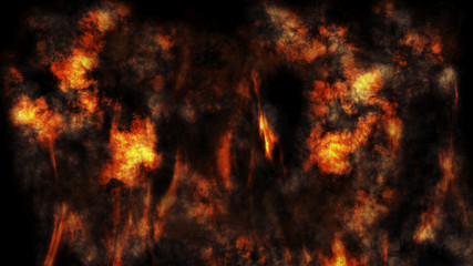Smoke and Fire Burning With Flames Background 3D Rendering