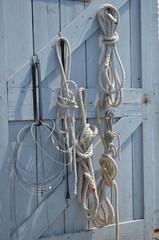 maritime knots hanging on door