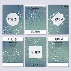 Set of business templates for brochure, flyer, cover magazine in A4 size. Structure molecule DNA and neurons. Geometric abstract background. Medicine, science, technology. Vector illustration.