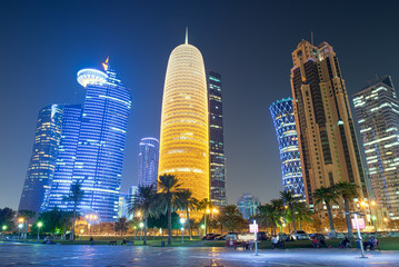 Qatar Skyline at Night