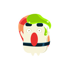 Funny Maki Sushi Character With Wasabi Drop On the Head