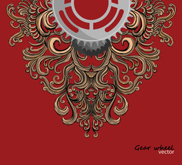 Gear wheel with art pattern vector on a red background