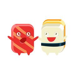 Funny Maki Sushi Character Friends Talking
