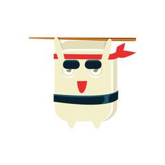 Samurai Training Funny Maki Sushi Character