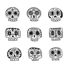 Vector cute ethnic Mexican sugar skulls icons