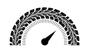 Speedometer illustration. Styling by tire tracks.