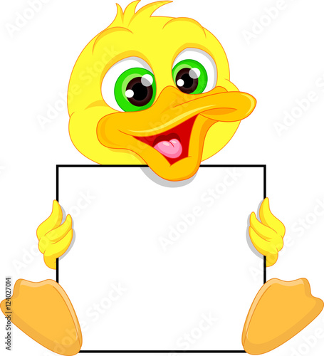 """""""Cute baby duck cartoon and blank sign"""" Stock image and ..."""