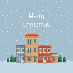 Christmas town. Street with house, front view. City background. Vector detailed illustration. Urban landscape.