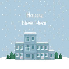 New Year card, Christmas town. Street with house, front view. City background. Vector detailed illustration. Urban landscape.