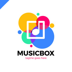 square abstract music note vector logo icon. This logotype graphic also represents music industry, digital music, musical app button