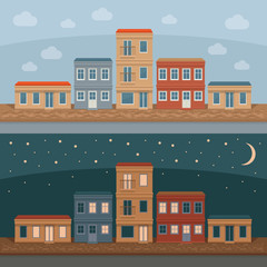 Old town street with retro building facades, front view. Day and night. City background. Vector detailed illustration.