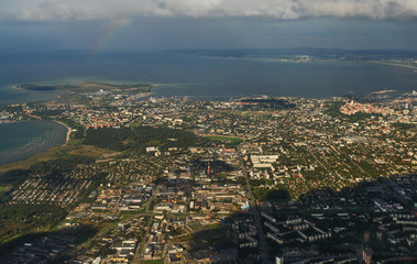 Old city of Tallinn from plane, Estonia.