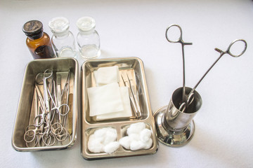 Close up of dressing set often used supplies in a medical for cleaning wounds (Shallow DOF)