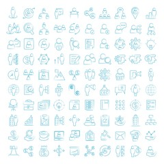 business management icons, hand drawn icons