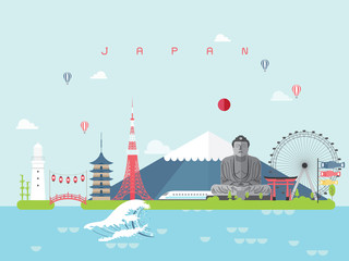 Japan Landmarks Travel and Journey Vector