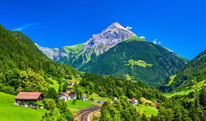 View of Gurtnellen, a village in Swiss Alps