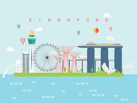 Singapore Landmarks Travel and Journey Vector