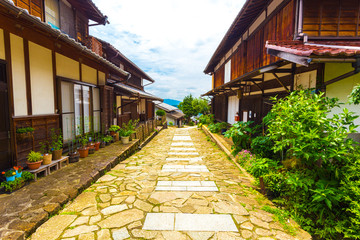 Traditional Wooden Houses Lining Nakasendo Magome