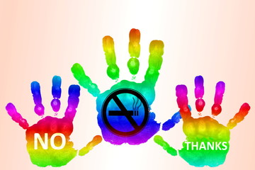 No smoking related concept sign on colorful hand