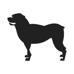 Rottweiler Dog Vector Black Silhouette