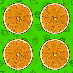 Cartoon orange with green leaves backdrop, seamless vector pattern