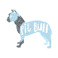 Form of round particles american pit bull terrier
