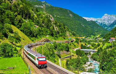 Intercity train at the Gotthard railway - Switzerland
