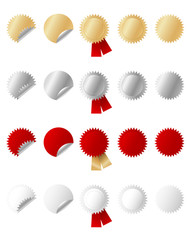 set of gold, silver, red and white stickers, vector