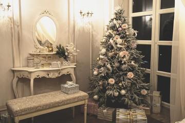 Vintage interior with christmas tree