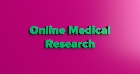 Online Medical Research - 3D rendered colorful headline illustration.  Can be used for an online banner ad or a print postcard.