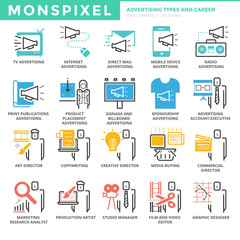Flat thin line Icons set of Advertising Types and Career. Pixel