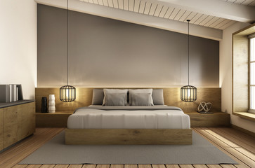 Bedroom under the roof interior design modern & loft - 3D render