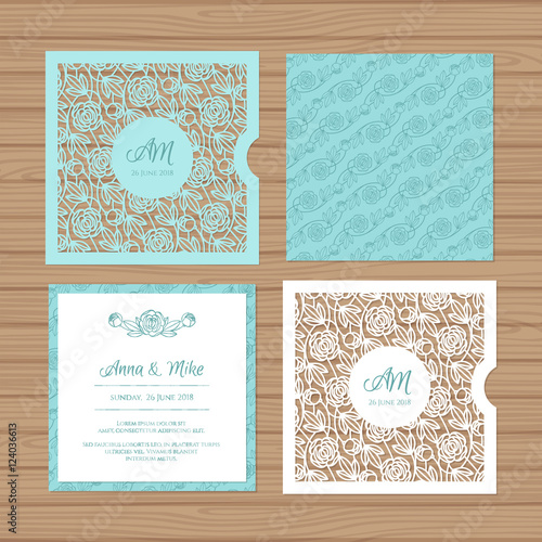Wedding invitation or greeting card with flower ornament cut laser wedding invitation or greeting card with flower ornament cut laser square envelope template wedding stopboris Image collections