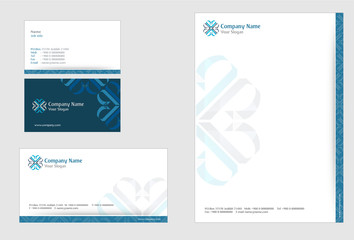 Professional Corporate Identity kit or business kit with artistic, abstract design in blue color for your business, Business Card and Letter Head Designs in EPS 10 format.
