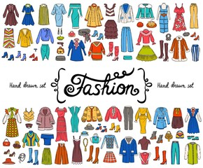 Vector set with hand drawn colored doodles on the theme of fashion on white color