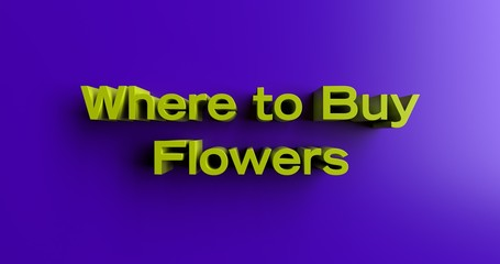 Where to Buy Flowers Online - 3D rendered colorful headline illustration.  Can be used for an online banner ad or a print postcard.