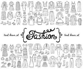 Vector set with hand drawn isolated doodles on the theme of fashion on white color