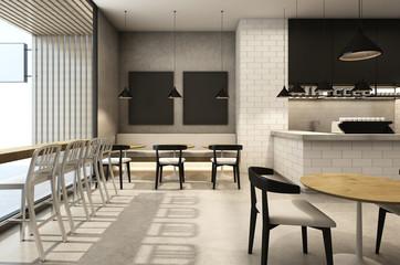 Shop cafe & Restaurants Loft & Modern - 3D render