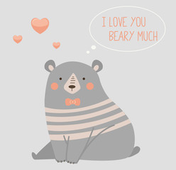 """Vector illustration of a cute polar bear with a heart is saying """"I love you beary much""""."""