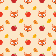 Autumn pattern with leaf, apple and fox