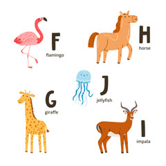 Animal alphabet letters f to j