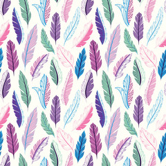 Wall Mural - Feathers seamless pattern