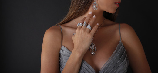 Diamond jewelry on the human model