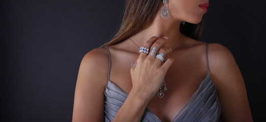 Diamond jewelry on the human model