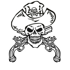 skull in hat with guns